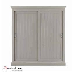 Lemari Pakaian Pintu Geser Klasik Gradiant Grey SM-150