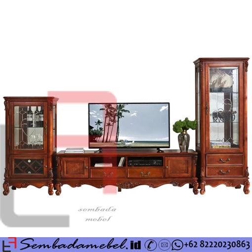 Set Kabinet Bufet Tv Ukir Jepara Klasik Mewah SM-552